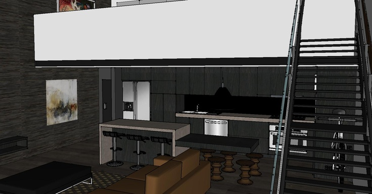 New York style loft apartment - Dark kitchen mockup with caesar stone bench, island bench and dark walls/floors and stairs to mezzanine bedroom.