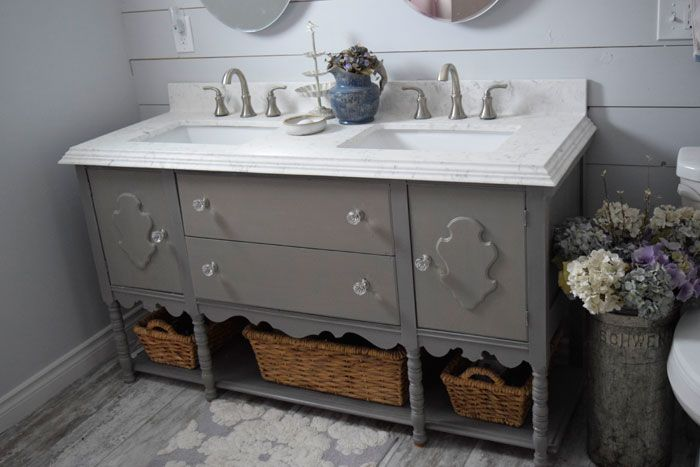 The Prairie Chick -DIY Cottage Vanity. Painted-with-MMS-Milk-Paint - Schloss Learn more at:  www.theprairiechick.com