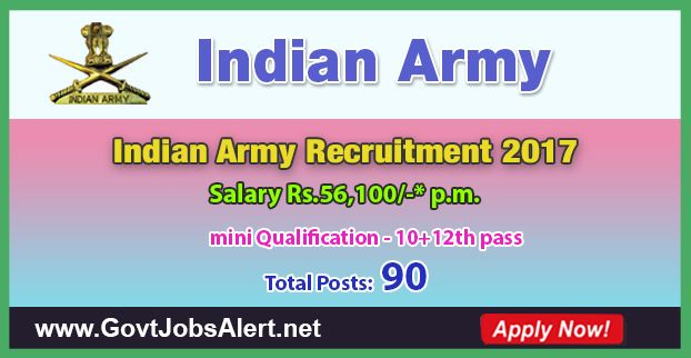 Indian Army Recruitment 2017 - Hiring 10+2 Technical Entry Scheme Course-39 Posts, Salary Rs.56,100/- : Apply Now !!!  The Indian Army Recruitment 2017 has released an official employment notification inviting interested and eligible candidates to apply for the positions of 10+2 Technical Entry Scheme Course-39. The eligible candidates may apply online through the official website (given below). The Closing date for apply of Indian Army Recruitment 2017 is on or before Nove