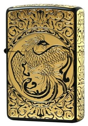 BIRD OF FIRE PHOENIX GOLD ZIPPO LIGHTER 2BKG-ENP 5 SURFACE ETCHING