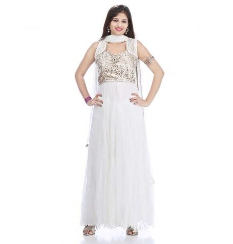 Wedding Special Vintage White Net Anarkali Suit