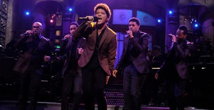 Bruno Mars and his band on SNL