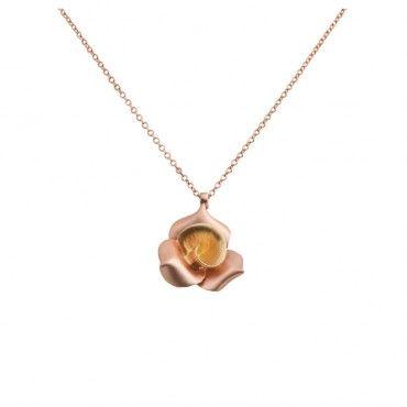Πρωτότυπο κολιέ τριαντάφυλλο ροζ χρυσό & κίτρινο Κ14 κατασκευασμένο από 3 ροζ χρυσά πέταλα και ένα κίτρινο στο κέντρο | Κοσμήματα ΤΣΑΛΔΑΡΗΣ στο Χαλάνδρι #τριαντάφυλλο #δίχρωμο #χρυσό #κολιέ