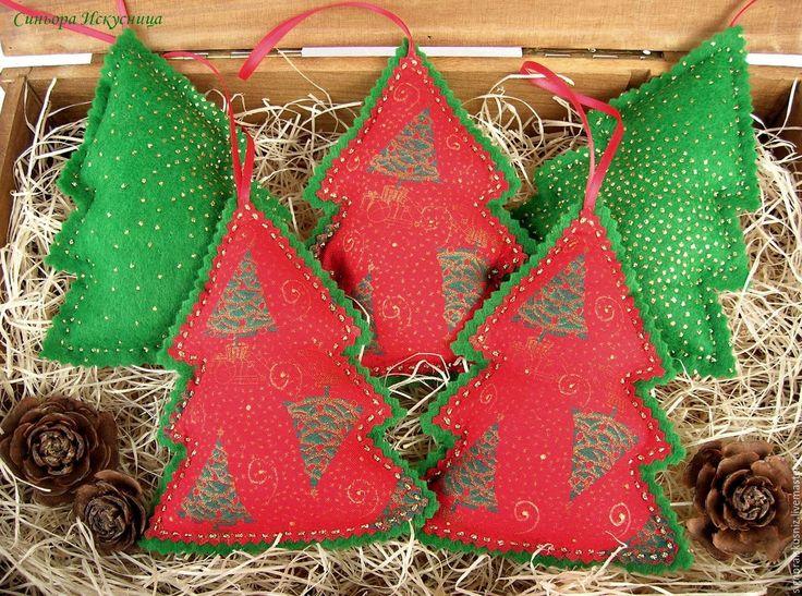 """Купить Новогодние игрушки из ткани и фетра """"Елки Зеленые"""" - зеленый, елочные игрушки из ткани"""