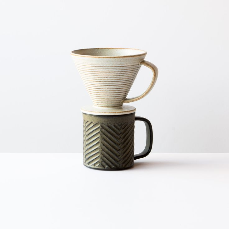 Greige Colour - Handmade Ceramic Pour-Over Coffee Dripper With Mug