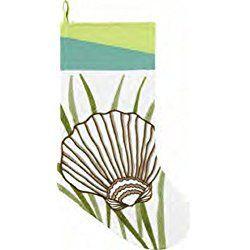 Beachy Christmas Stocking Scallop Seashell in Seaweed White