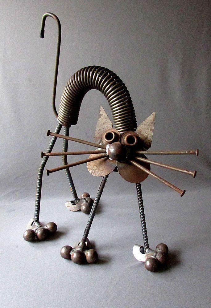 "VINTAGE Hand Made YARD ART CAT Welded Steel Folk Art 17 1/2"" JUNK SCULPTURE"