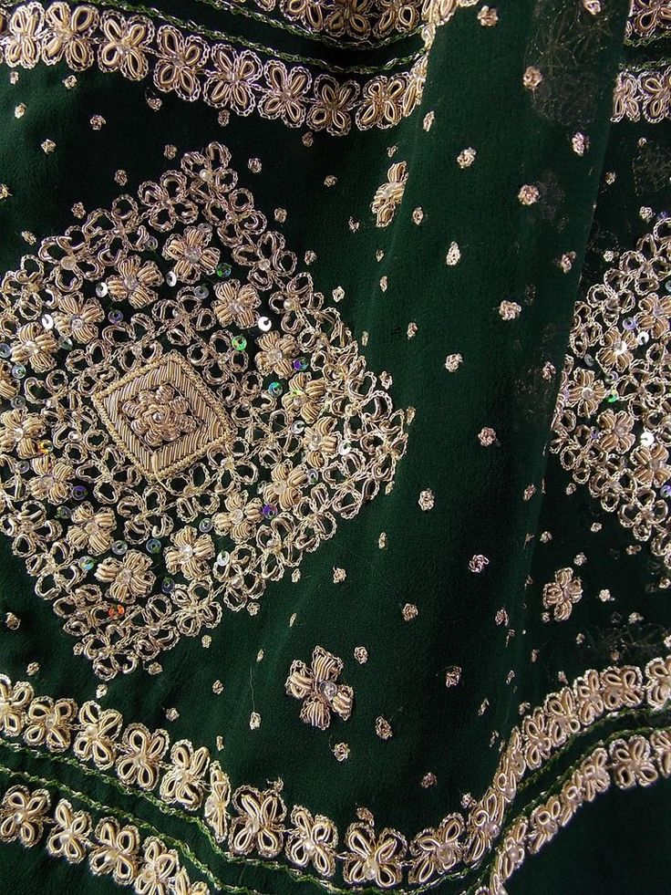 Dabka and sequin work on pure georgette