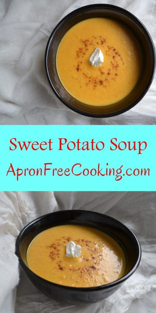 Savory Sweet Potato Soup in black bowl on white tablecloth. www.ArponFreeCooking.com