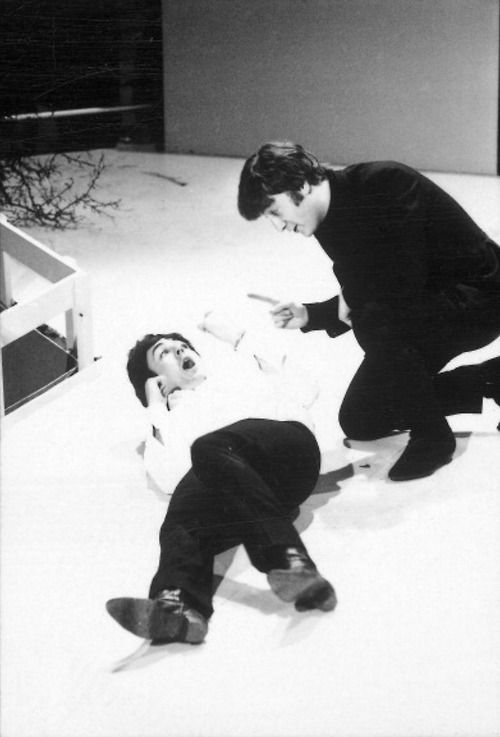 Paul McCartney and John Lennon rehearsing for the performance of the story of Pyramus and Thisbe