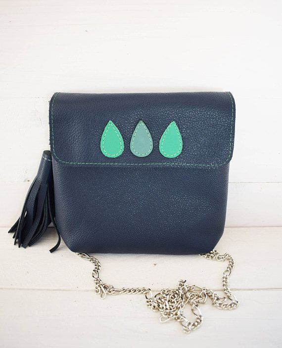 Navy Blue Genuine Leather Bag / Xmas gift / Leather bag gift/ Crossbody leather / Blue leather handbag /Leather clutch purse with strap