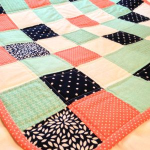 Coral, Navy and Teal baby quilt by CraftyCrewX4 on Etsy https://www.etsy.com/listing/276822372/coral-navy-and-teal-baby-quilt