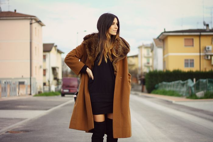 OVER COAT AND OVER THE KNEE BOOTS