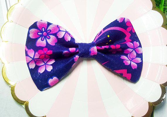 Purple Blossom Japan Dog Bow Tie/Bow TieDog LoverDog Bow