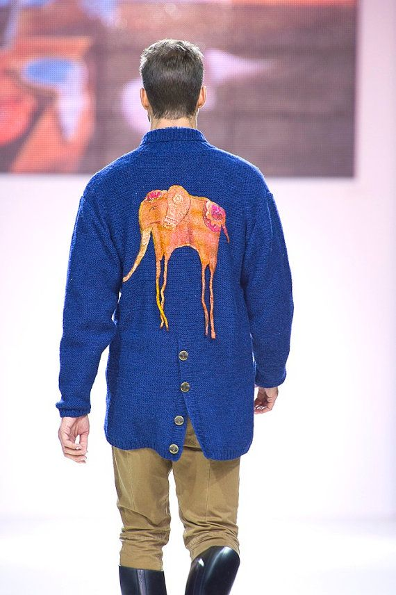 Jacket handmade in the collection of DIARIES GENIUSES in 2012 and was shown at the Fashion Week in Moscow. Magic NORO yarn, the quality of which the purchaser will evaluate in 35-50 years, when will understand that the jacket has not lost its shape, color, and hair does not balls