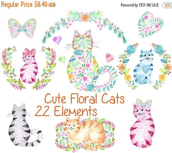 """SALE40% Cute watercolor cats clipart: """"KIDS CLIP Art"""" Kitty clipart  Floral clipart invitation clipart Cat clipart  greeting card watercolor by vivastarkids on Etsy https://www.etsy.com/listing/269981895/sale40-cute-watercolor-cats-clipart-kids"""