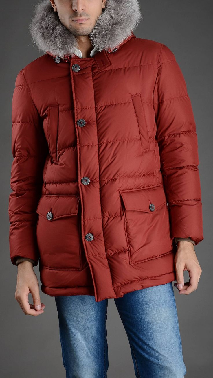 Herno Quilted hooded down jacket, removable fur trim, four pockets, concealed zip fastening with button closure, button chin strap, 100% polyester.