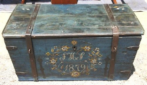Antique Painted Dowry Chest