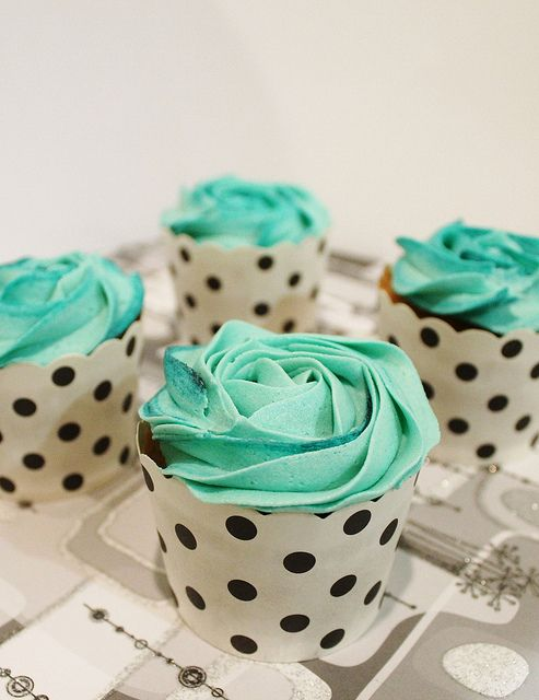 Teal Cupcakes pallete  Love these teal cupcakes and polka dot papers! @Susan Gardiner