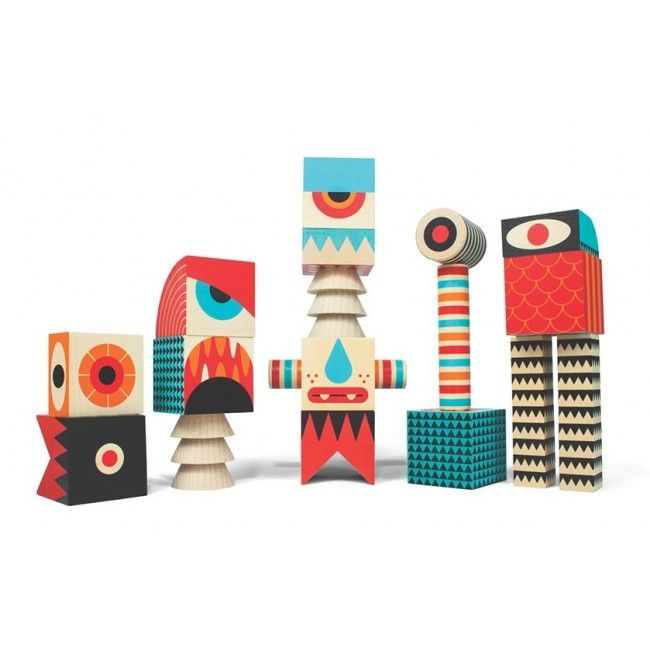 Wooden building blocks like you've never seen before! You can create your own monsters with 18 colourful pieces, featuring monster heads, hands, feet and lots more! Mix and match to create something new every time. #entropytoys #woodentoys #woodenblocks #unclegoose