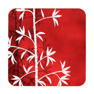 White bamboo red drink coaster