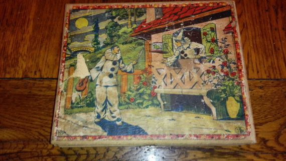 Victorian toy wooden puzzle bricks in wooden box. 25 bricks & 5 guides to create lovely pictures of clowns and jokers