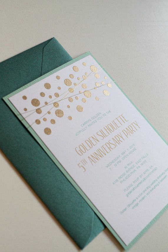 Gold and Mint Wedding Invitations, Confetti Embossed Wedding Invitations with Gold Wire Wrap, Modern Invitations, Emerald Green