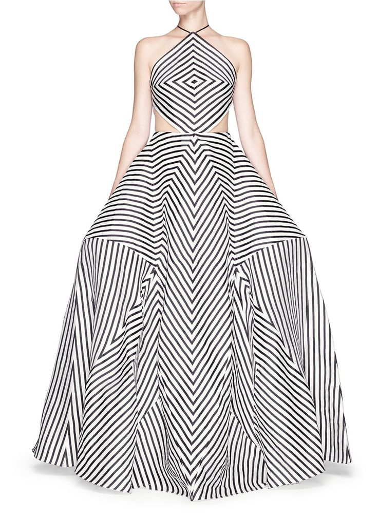 ROSIE ASSOULIN - 'La Scarpa' cutout stripe organza gown | Multi-colour Evening Dresses | Womenswear | Lane Crawford - Shop Designer Brands Online