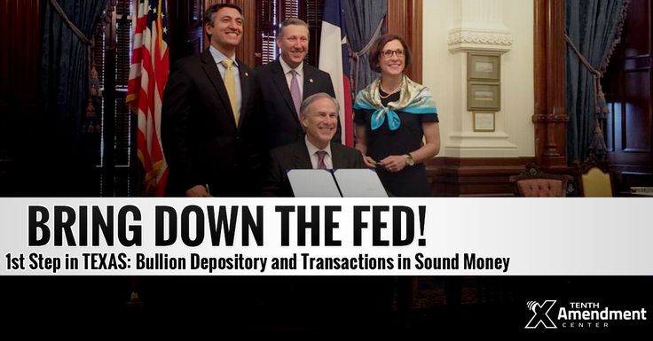 Texas Republican Governor Greg Abbott signed a bill into law on Friday that will create a first-in-the-nation state-level gold depository and repatriate $1 billion in gold from the New York branch of the Federal Reserve to Texas' new depository. http://truthinmedia.com/texas-to-repatriate-1-billion-in-gold-from-federal-reserve-to-new-state-depository/ 6-19-2015