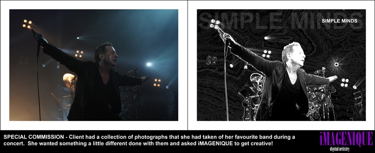SPECIAL COMMISSION - Client had a collection of photographs that she had taken of her favourite band during a  concert.  She wanted something a little different done with them and asked iMAGENIQUE to get creative!