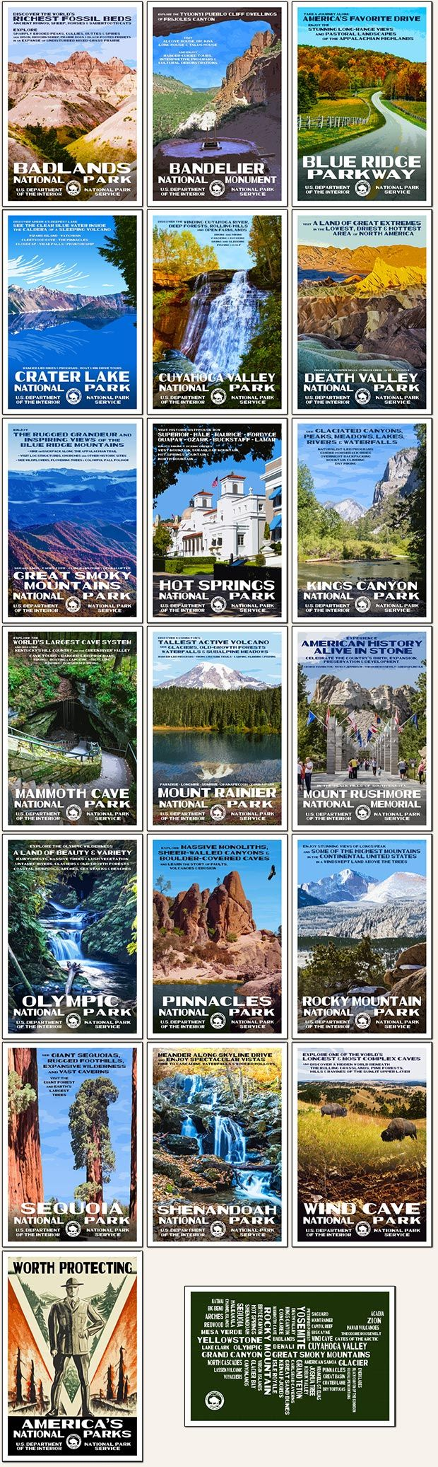 2017 Postcard Collection | National Park Posters