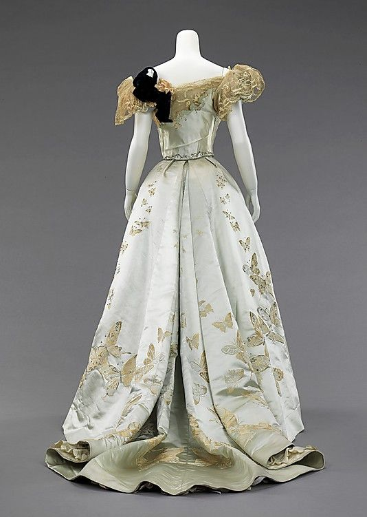 Evening gown, Worth, 1898. back view                                                                                                                                                                                 More