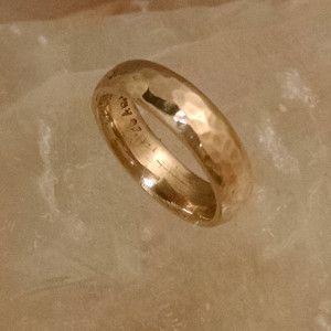 Half Round Hammered Wedding Ring. 14kt Yellow gold. $565