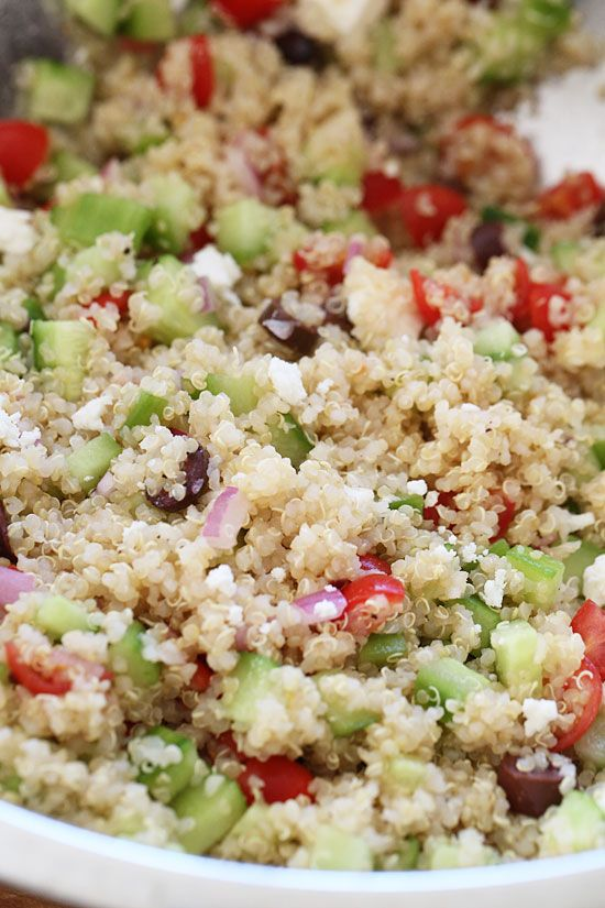 Mediterranean Quinoa Salad | Skinnytaste - possible substitutions: orange juice instead of lemon juice black olives instead of kalamata decrease olive oil and add red wine vinegar May add parsley when adding feta cheese.