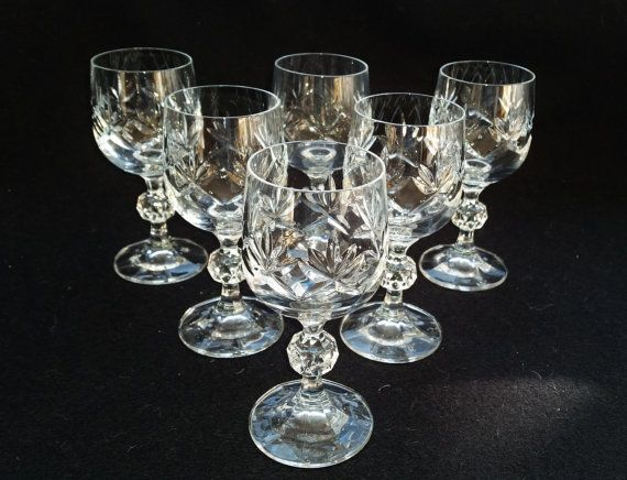 6 Cut Crystal Port Glasses Six Vintage Cut by darcyelizavintage