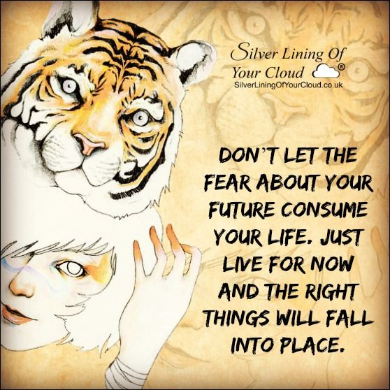 Don't let the fear about your future consume your life. Just live for now and the right things will fall into place. ..._More fantastic quotes on: https://www.facebook.com/SilverLiningOfYourCloud  _Follow my Quote Blog on: http://silverliningofyourcloud.wordpress.com/