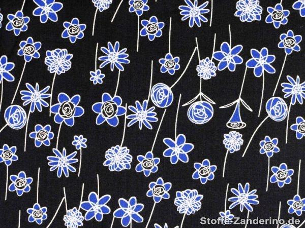 Modischer Baumwoll-Druck, Blumen, marine- blau, ca. 140cm 501804-2 - Stoffe - Stoff Online bestellen. Der Onlineshop Stoffe-Zanderino.de