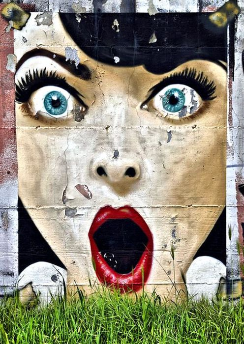 The eyes on this piece of street art! Love the blues