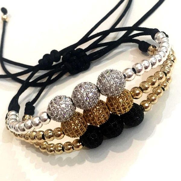 Set By Vila Veloni Threesome Zirconia Balls Silver- Gold- Black