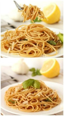 This healthy lemon garlic spaghetti is super quick and easy to put together! The perfect busy weeknight dish. #wholewheat #glutenfree