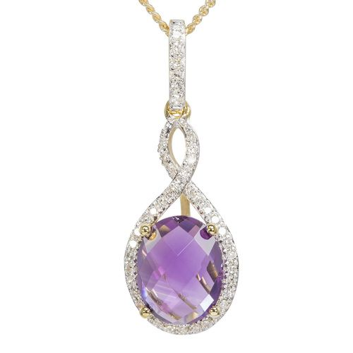 9ct Yellow Gold Amethyst  Diamond Halo Pendant only $229 - purejewels.com.au
