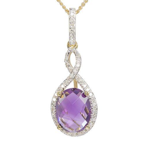 9ct Yellow Gold Amethyst  Diamond Halo Pendant only $229 - purejewels.com.au