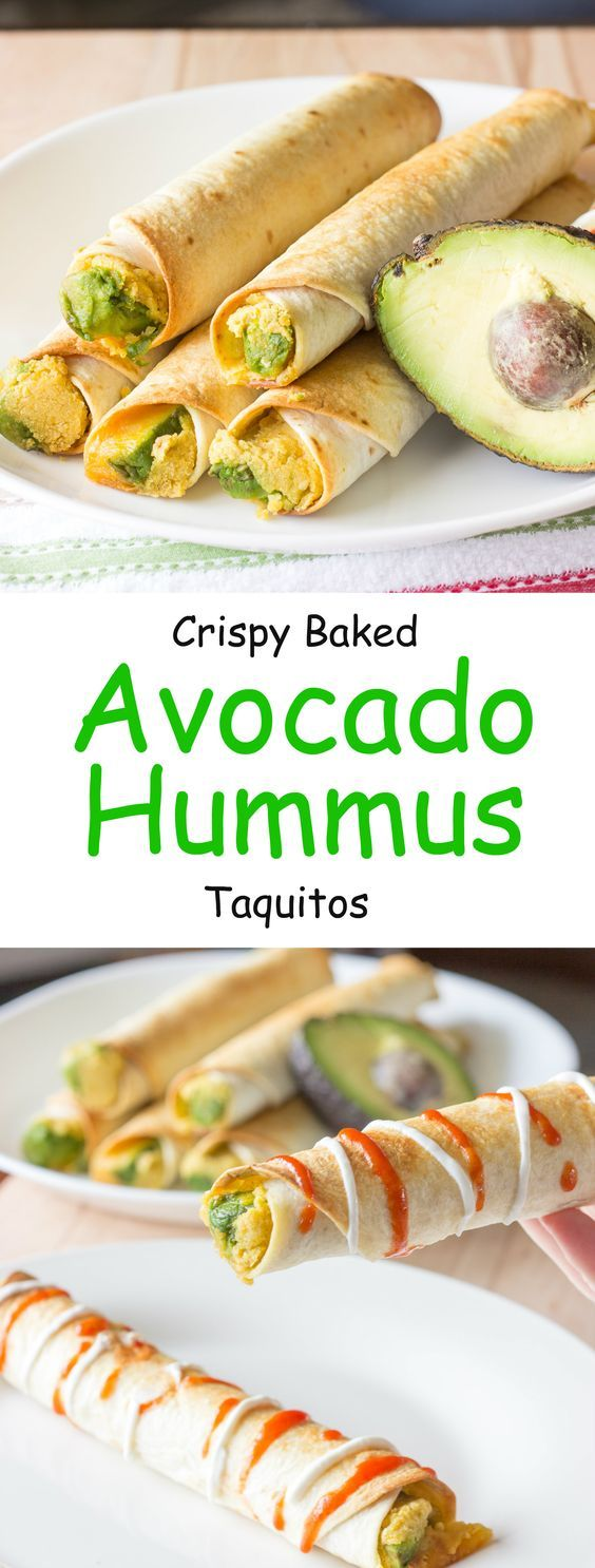 Avocado hummus taquitos are tortillas with hummus, sliced avocado, and shredded cheese rolled into small tubes; and baked until crunchy.: