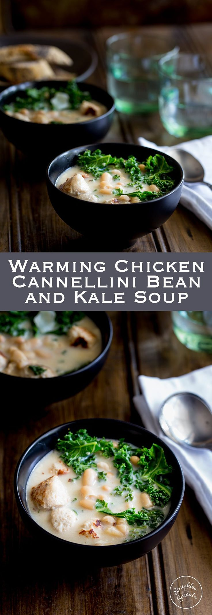 A big bowl of this Chicken, Cannellini Bean and Kale Soup is like wrapping a fleecy blanket around you and curling up on the sofa with a good book. Warm, comforting and oh so delicious! From https://www.sprinklesandsprouts.com.au