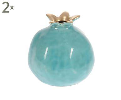 Set van 2 decoratieve objecten Suus, turquoise/goud, H 9 cm