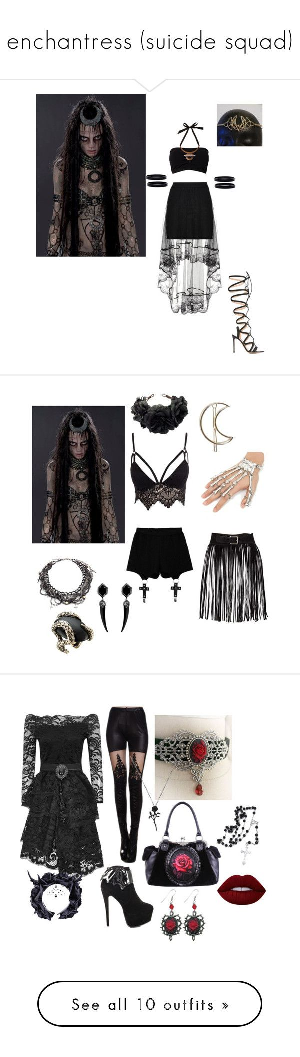 """enchantress (suicide squad)"" by bailey-frooyah ❤ liked on Polyvore featuring Wolf & Moon, Gianvito Rossi, L. Erickson, goth, alternative, Dccomics, Enchantress, SuicideSquad, Club L and Chicnova Fashion"