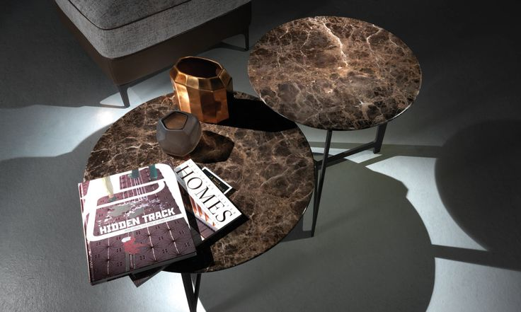 B160 and B161, from the tables collection BSeries by BORZALINO - Metal base and marble top - #coffee tables #furniture #sofa #chair #armchair #carlobimbi