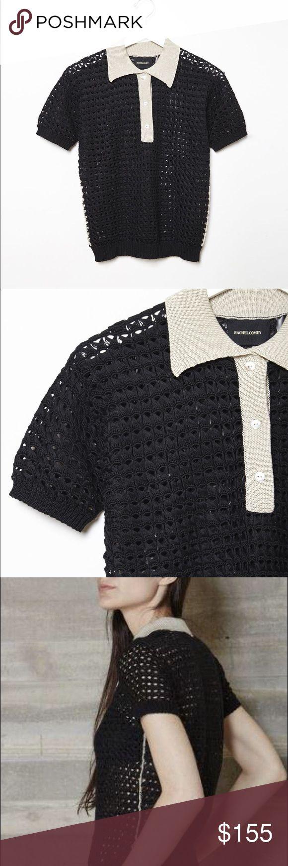 Rachel Comey Crochet Polo Shirt/ Sweater Rachel Comey black sheer crochet polo top with beige collar Rachel Comey Tops Tees - Short Sleeve