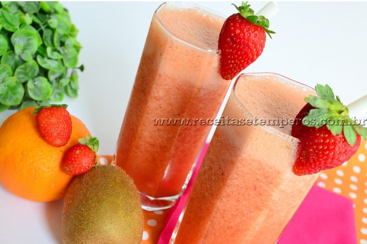 Suco de laranja, morango e kiwi | Receitas e Temperos