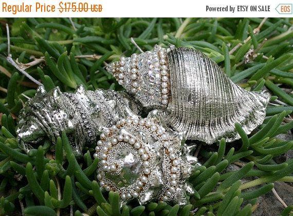 On SALE Jeweled Seashells Sea Shells Sea Goddess Encrusted Rhinestones Crystals Romantic Nautical Beach Cottage Seaside Home Decor - Treasur